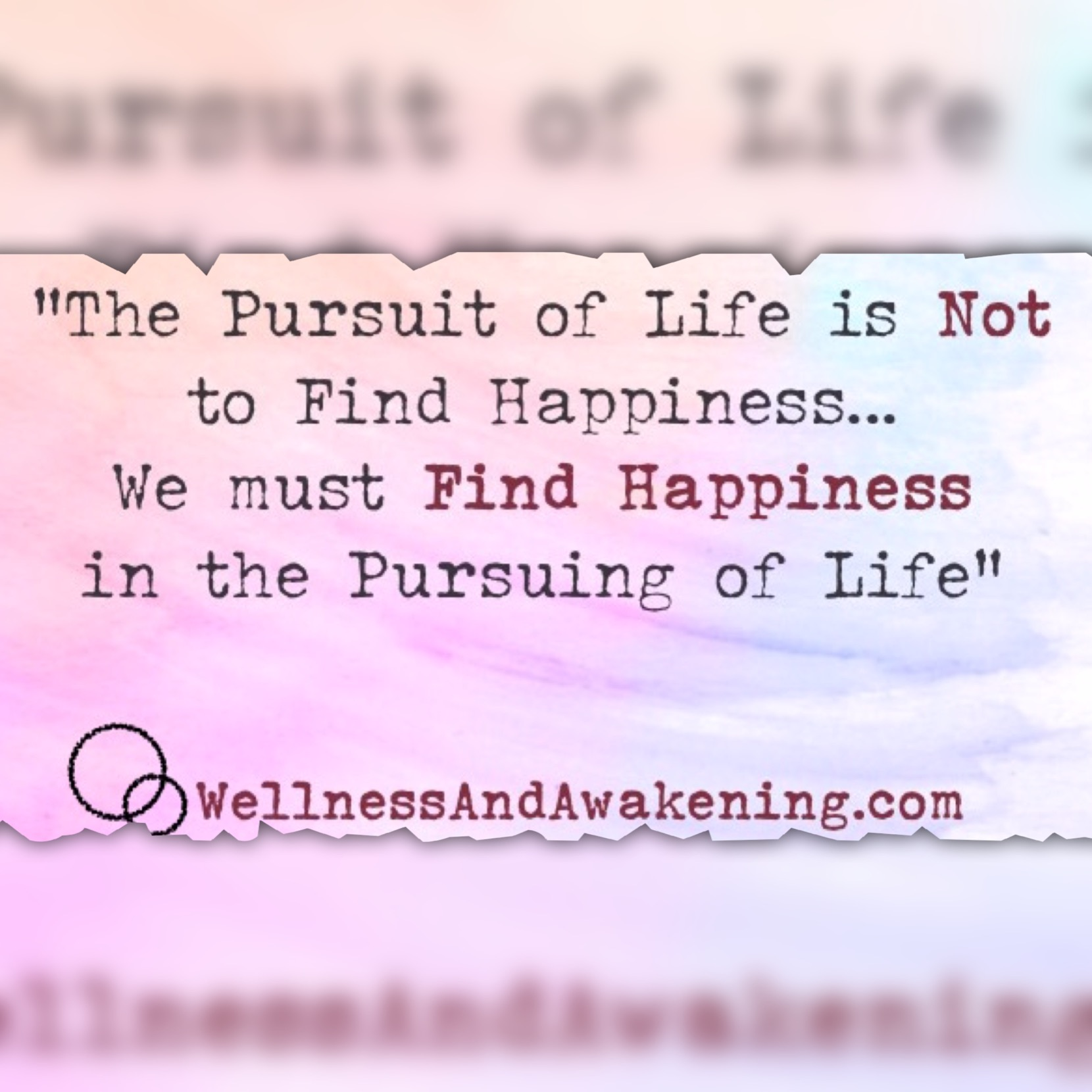 Happiness in pursuing life