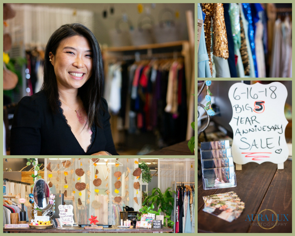 Asian woman standing in Thread & Thrum Boutique and Salon. Aura Lux Photography Women in Business