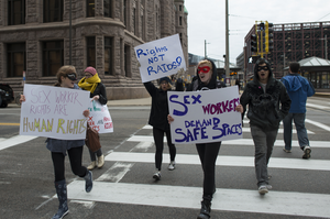 Protesters gathered in Minneapolis to advocate for sex workers' rights after a raid of Backpage's headquarters in October 2016, by Fibonacci Blue