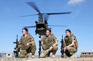 Three female soldiers of 2nd Battalion