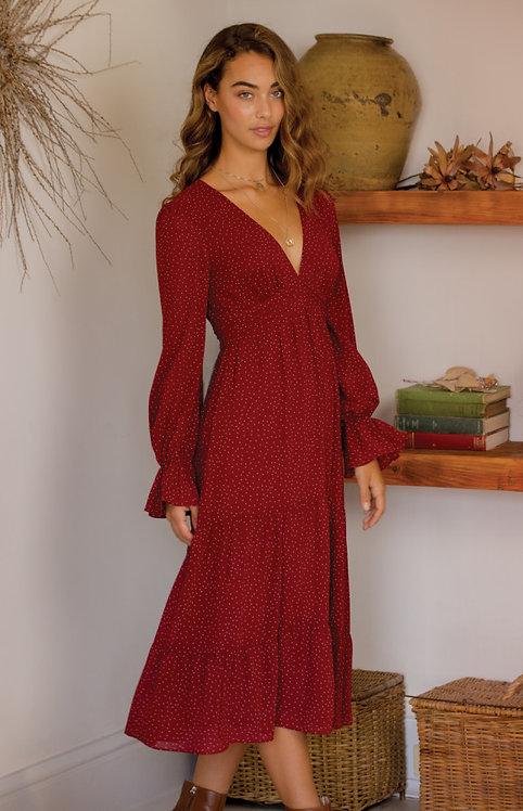Spotty vneck dress