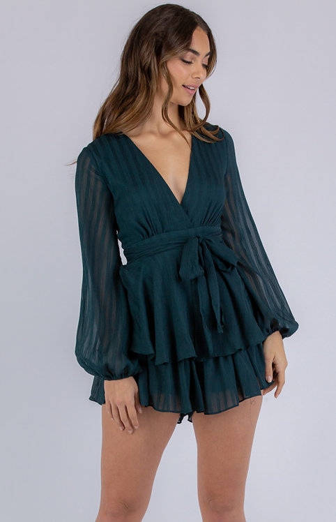 Green textured playsuit