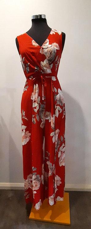 Red floral jumpsuit