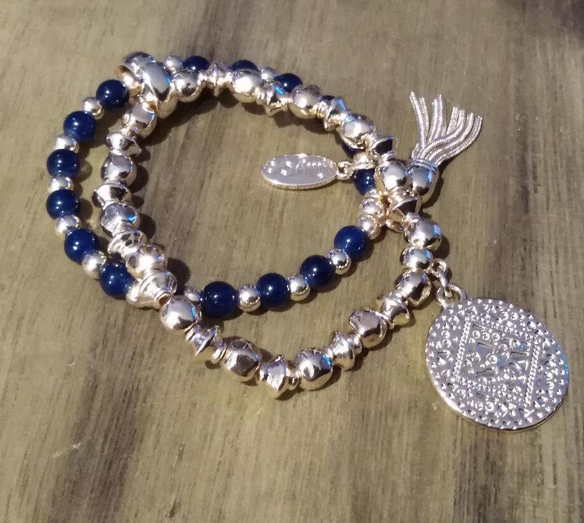 Gold and navy bracelet