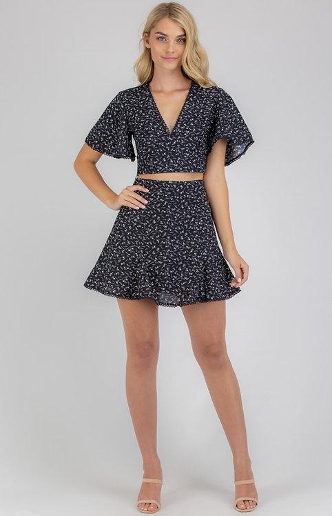 Black skirt and top set