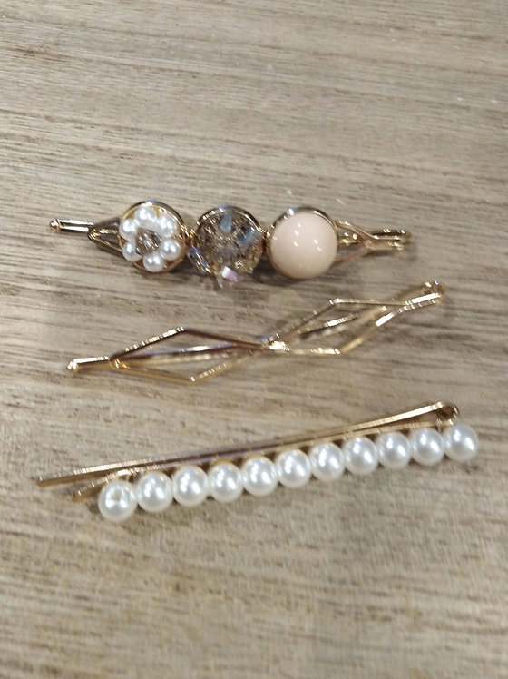 Crystal and pearl hair clips