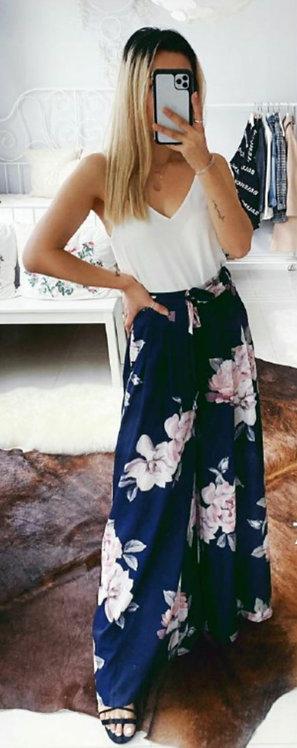 Floral navy pants