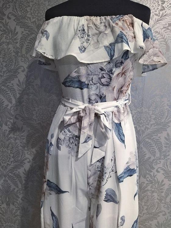 Off shoulder floral jumpsuit