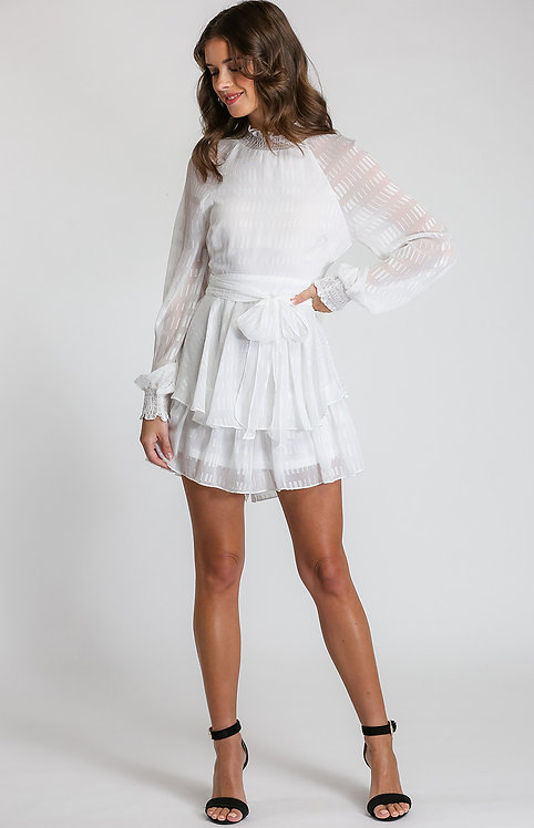 White textured playsuit