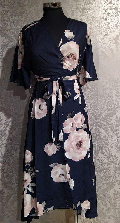 Navy kimono wrap dress