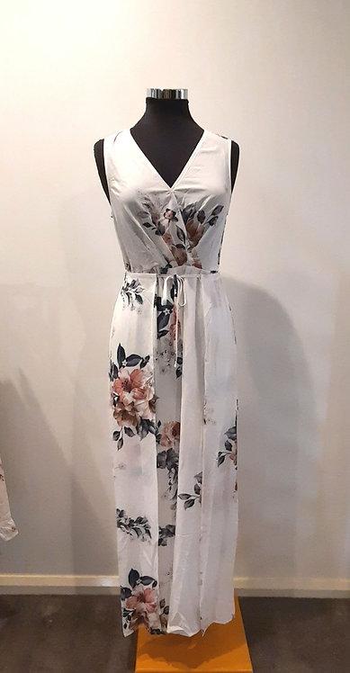 White floral jumpsuit