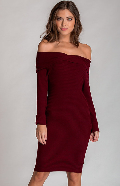 Off The Shoulder Knit Twist Dress