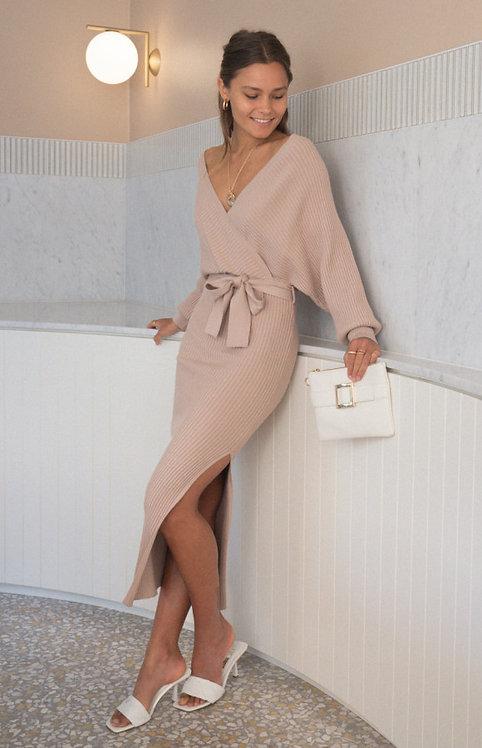 Cross front knit dress