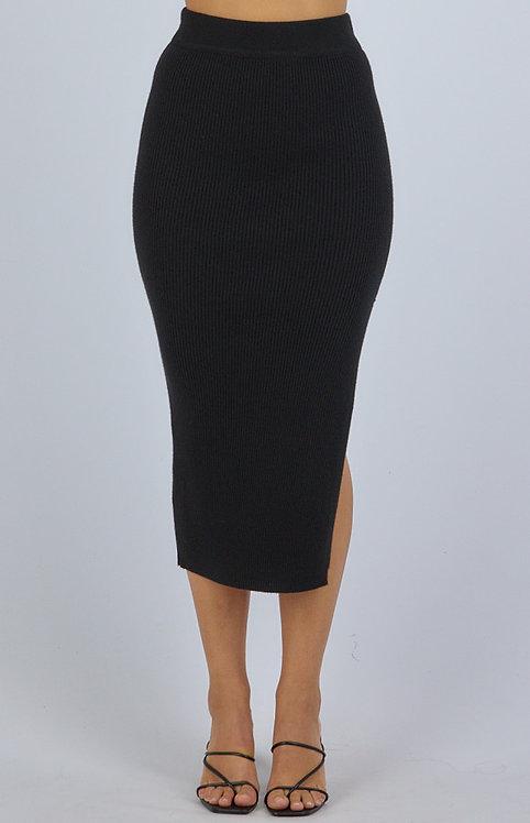 Knit split skirt