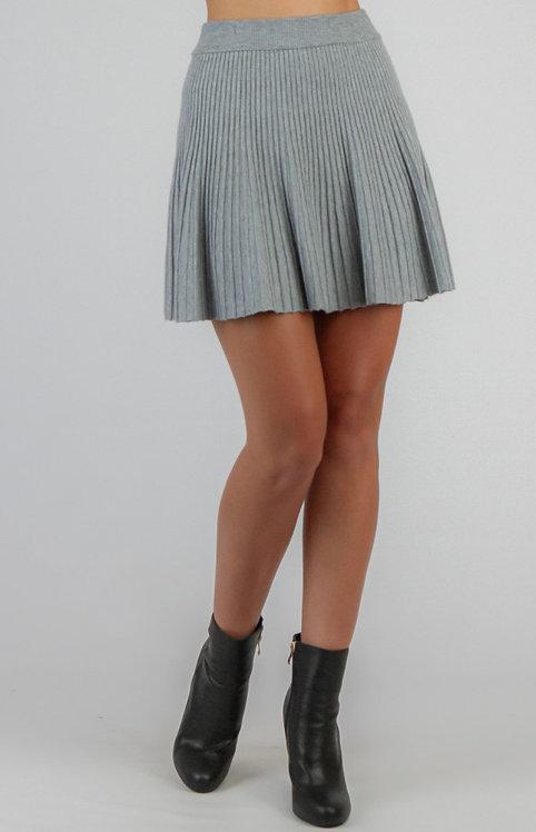 Grey knit mini skirt