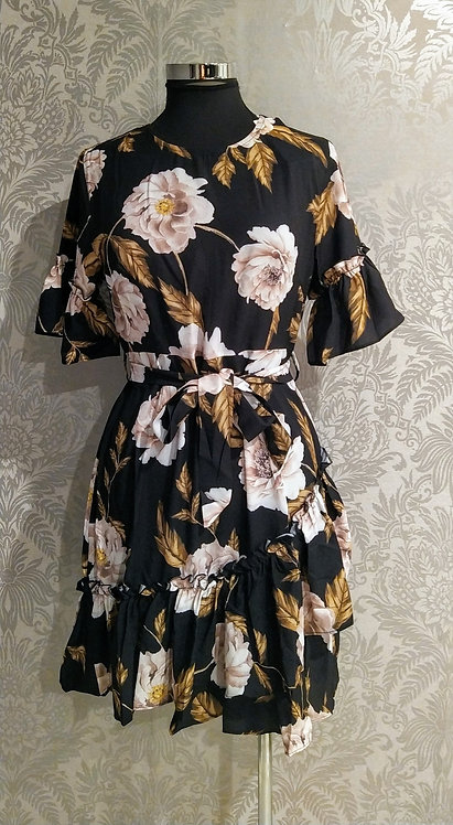 Black floral frill dress