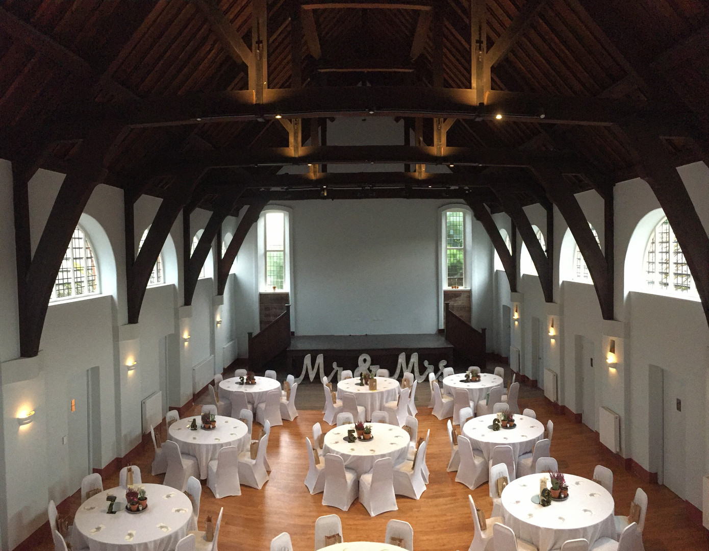The hall set out for a wedding reception