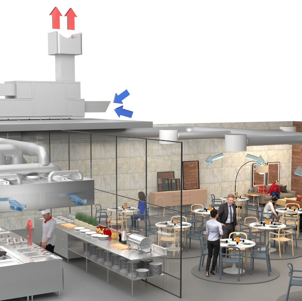 Full ventilation system example for restaurant. All necessary components for great indoor comfort and ventilation in commercial kitchen environment