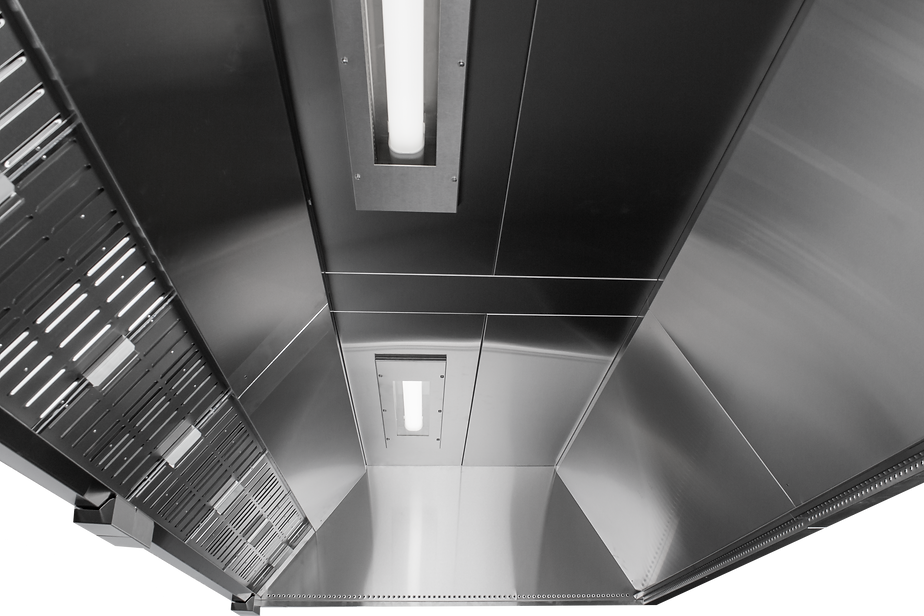 Nord canopy kitchen hoods provide a great indoor environment, with grease filtration for the exhaust air and low velocity fresh air diffusion