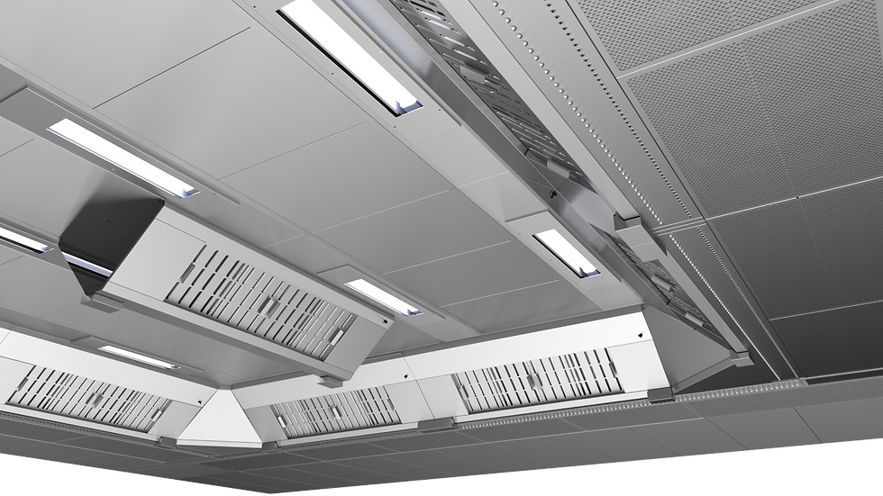 Ventilation ceiling for commercial kitchen ventilation. Unlimited modularity for exhaust and freash air inlet