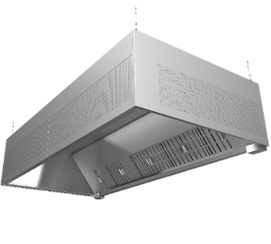 HR grease hood for commercial kitchen ventilation. Grease separation and filtration for the exhaust chamber.
