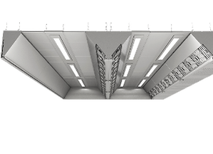 ventilation ceiling is a modular kitchen ventilation solution that provides the exhaust and inlet for indoor environment in a challenging kitchen layout