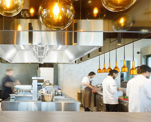ETS NORD kitchen ventilation in 180 degree restaurant run by Matthias Diether. HZ grease hood with ozonator technology.