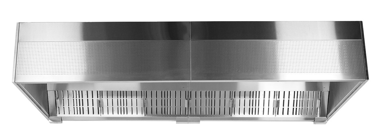 HR or HZ grease canopy with front panel air inlet and grease separation for exhaust air.