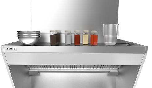 HG grease hood providest greate kitchen ergonomics. with the surface on top as a shelf.