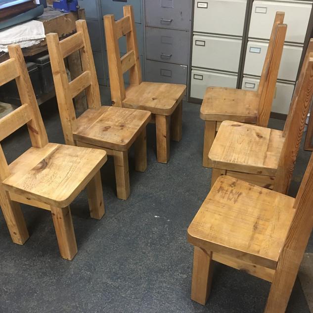 Set 6 Chunky Rustic Chairs