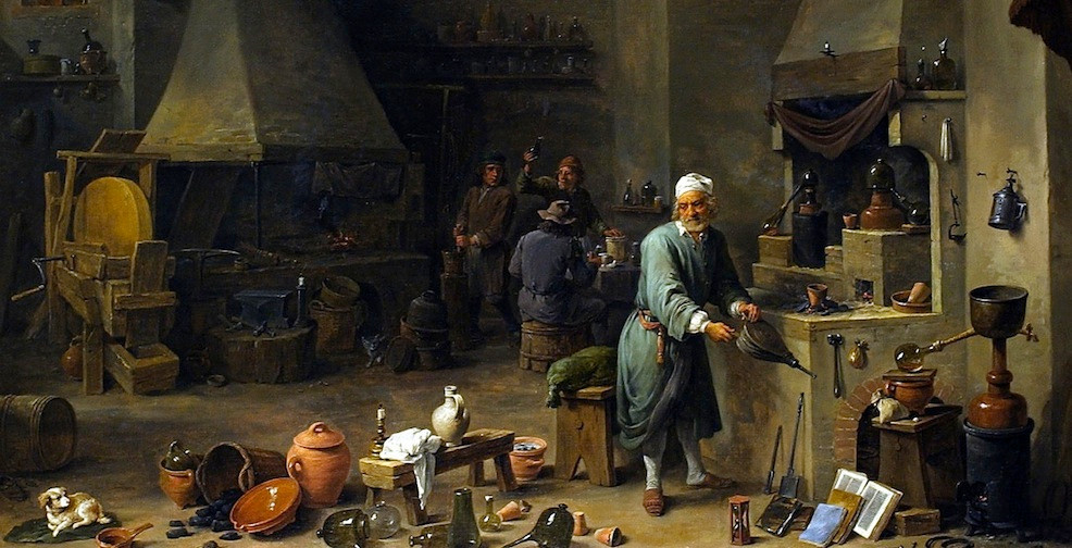 Painting of Alchemist in Workshop