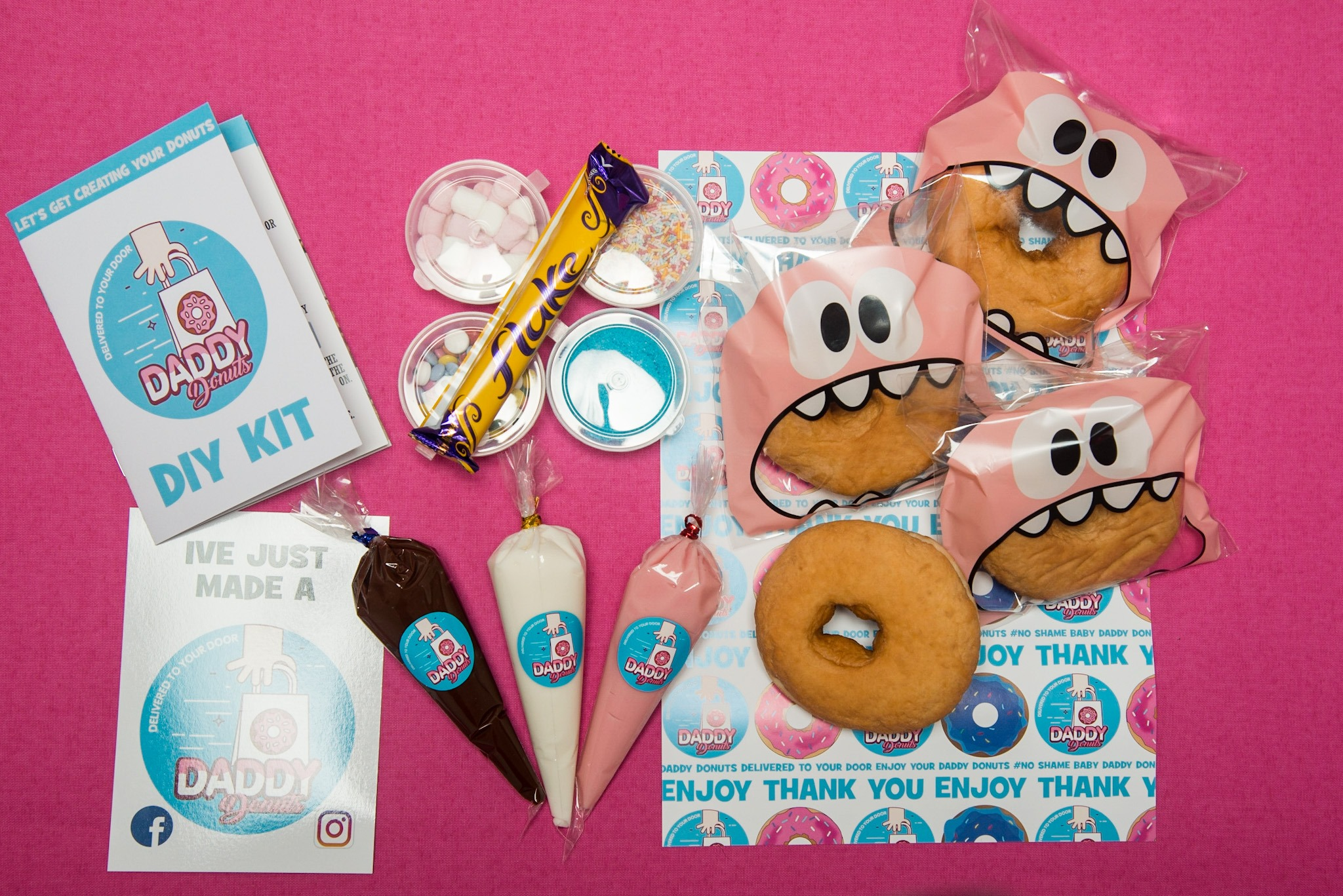 contents of daddy donuts diy box