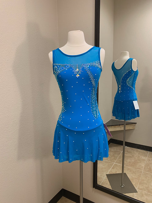 Adult Small- Turquoise with Cutouts Beaded Dress!