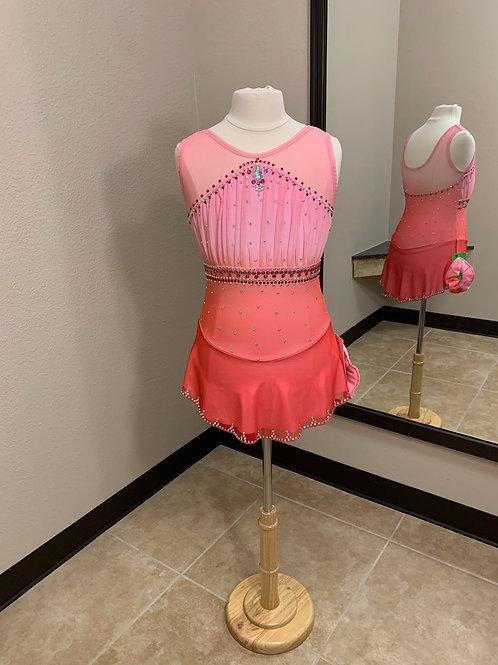 Child 12-14 Light Pink to Dark Pink Beaded Dress!