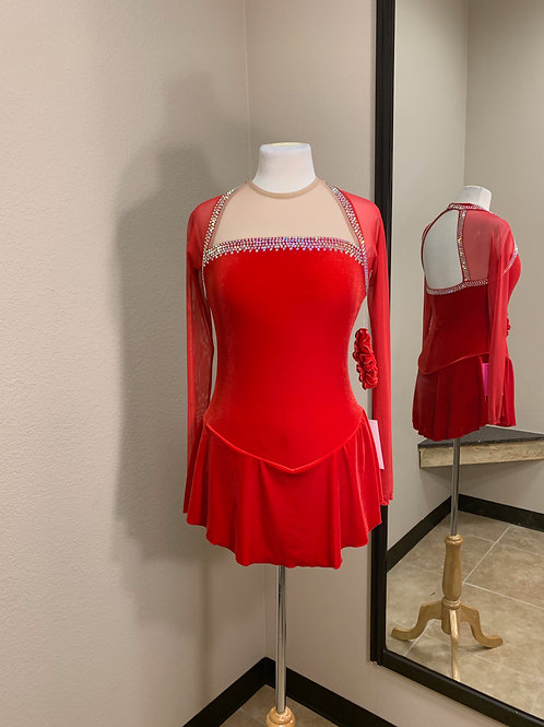 Adult Large- Red Long Sleeve Beaded Dress!