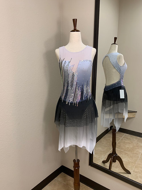 Adult XS- White to Black Beaded Dress!