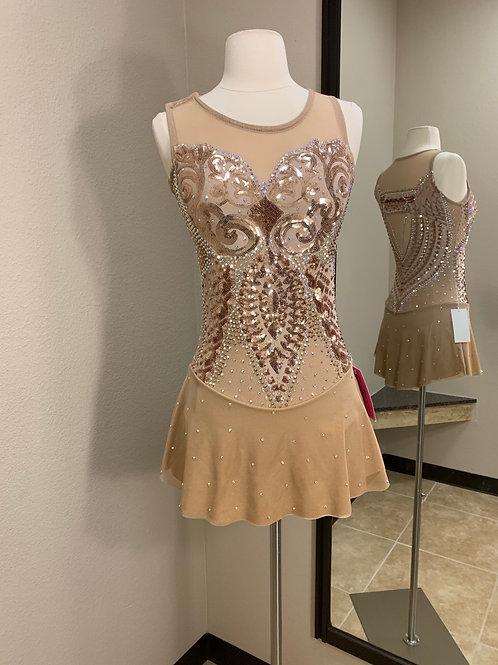 Adult Small- Tan/Gold Custom Skating Dress