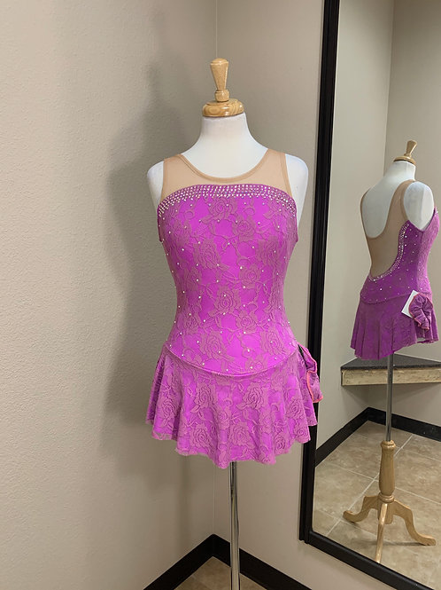 Adult Small-  Pink Grape with Lace Beaded Dress!