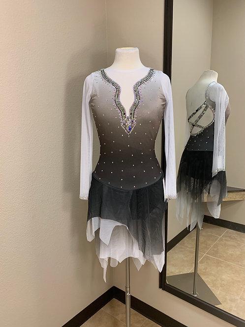 Adult Medium- White to Black Beaded Dress!
