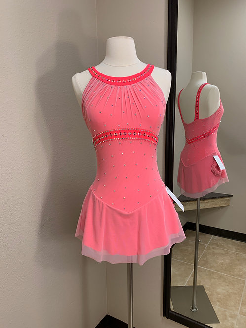 Adult Small- Light Pink & Coral Beaded Dress!