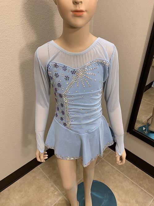 Child 8- Light Blue & Silver Foil Sparkly Dress