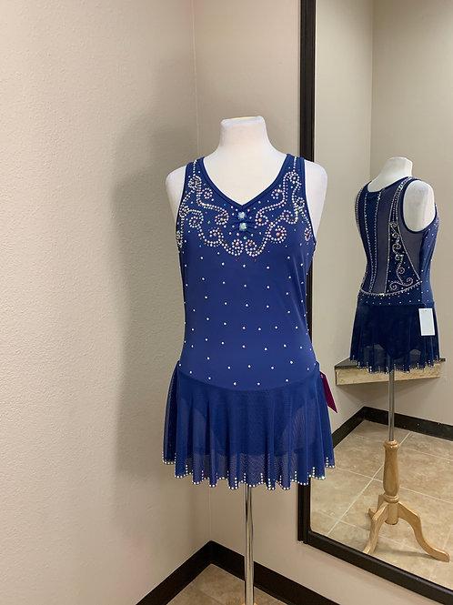 Adult XL- Navy Blue Beaded Dress!