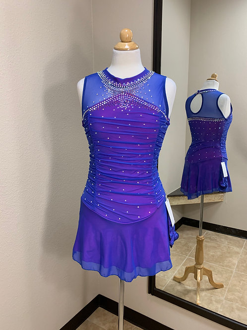 Adult Medium- Royal Blue over Hot Pink Beaded Dress!