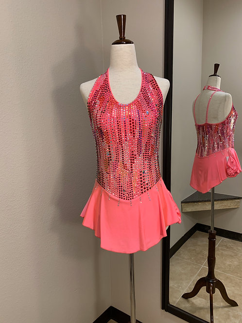 Adult Small- Coral Halter Beaded Dress!
