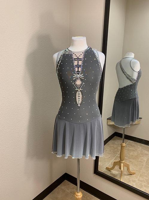 Adult Large- Shaded Grey Beaded Dress!