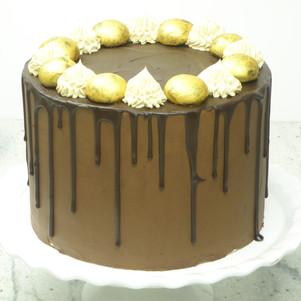 Chocolate coffee cake with Brigadeiros