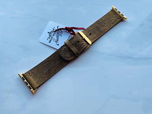 42 mm Vintage Tooled Apple Watch Band - MED/LG
