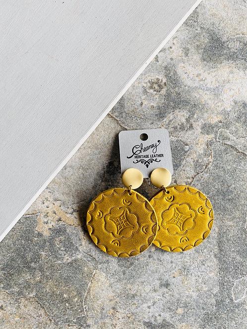 Stamped Hoops in Mustard