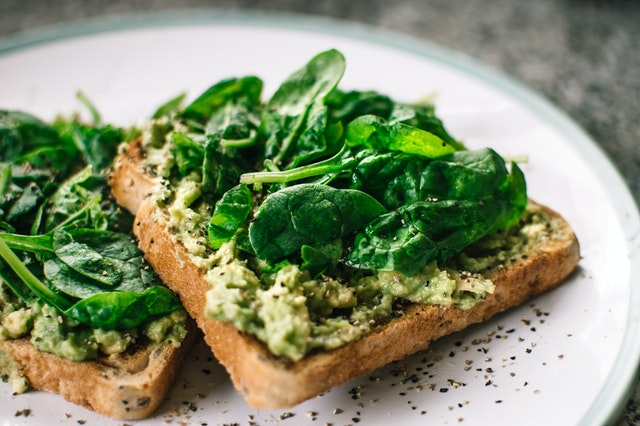 Avocado toast with spinach