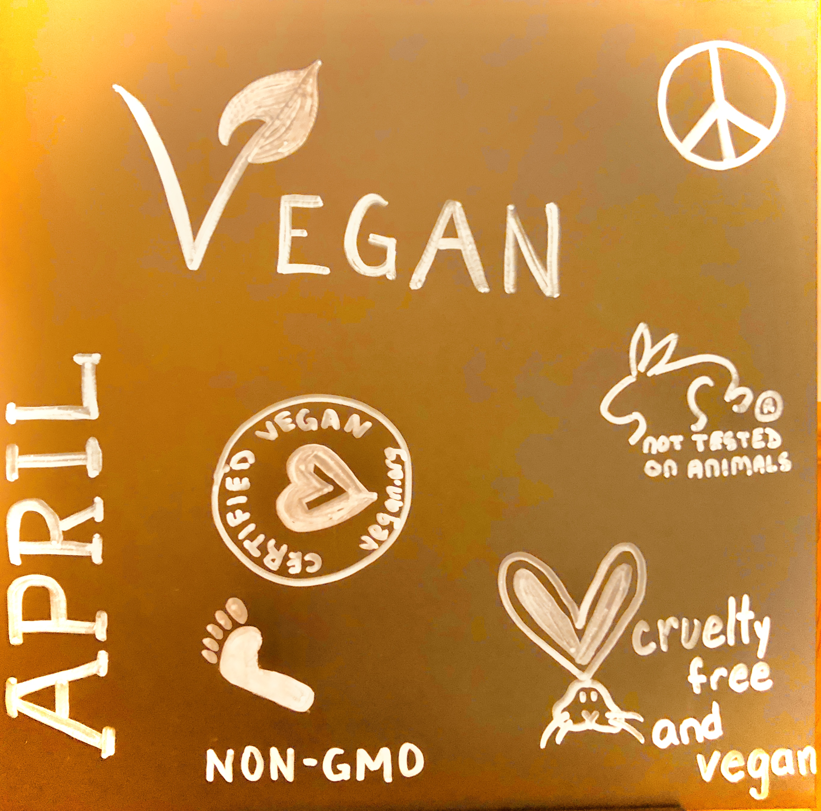 April VEGAN month board